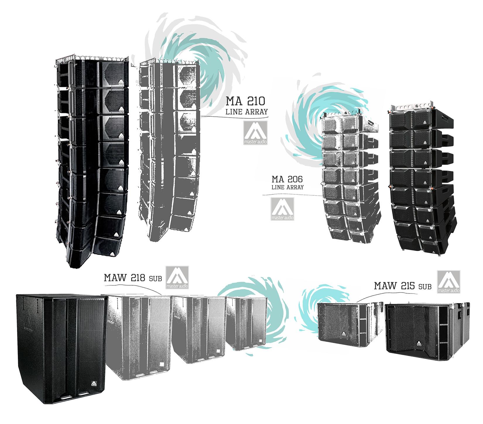 MASTER AUDIO line array  MA 210, MAW 218, MA 206, MAW 215